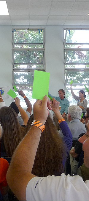 SMRR members voting in support of a ballot measure at the group's annual convention Sunday. Candidate endorsements for City Council and the 50th Assembly District races were done by secret ballot. (Ashley Archibald ashley@smdp.com)