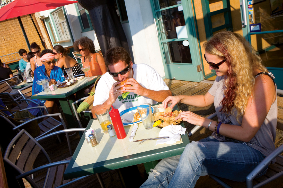 A couple have a meal at Rusty's Surf Ranch. (File photo)