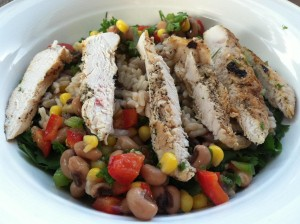 A meal that would make Fergie proud; a black-eyed peas with corn, seasoned chicken and fresh herbs to help refuel and repair after a workout.