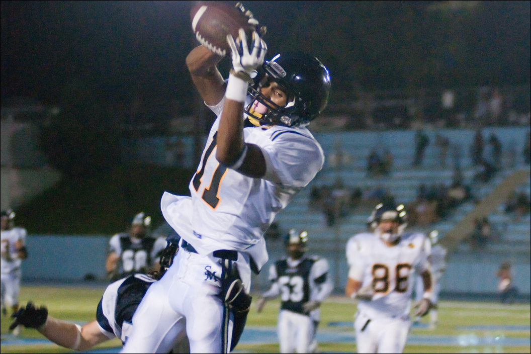 HANDS MAN: Samohi wide receiver Jason King makes a catch against Palisades last week. (Morgan Genser news@smdp.com)