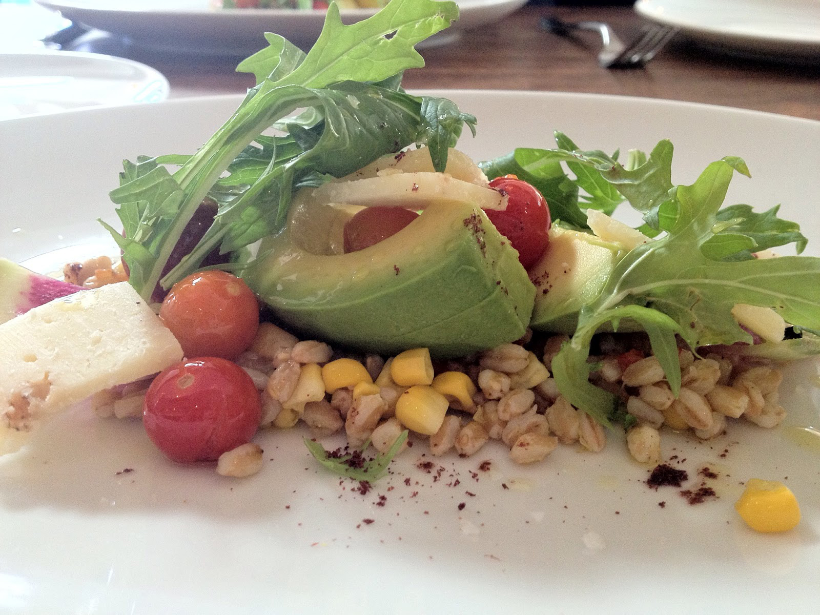 The corn and avocado salad at Farmshop in Brentwood offers an interesting twist on the standard salad. (Photo courtesy Google Images.)