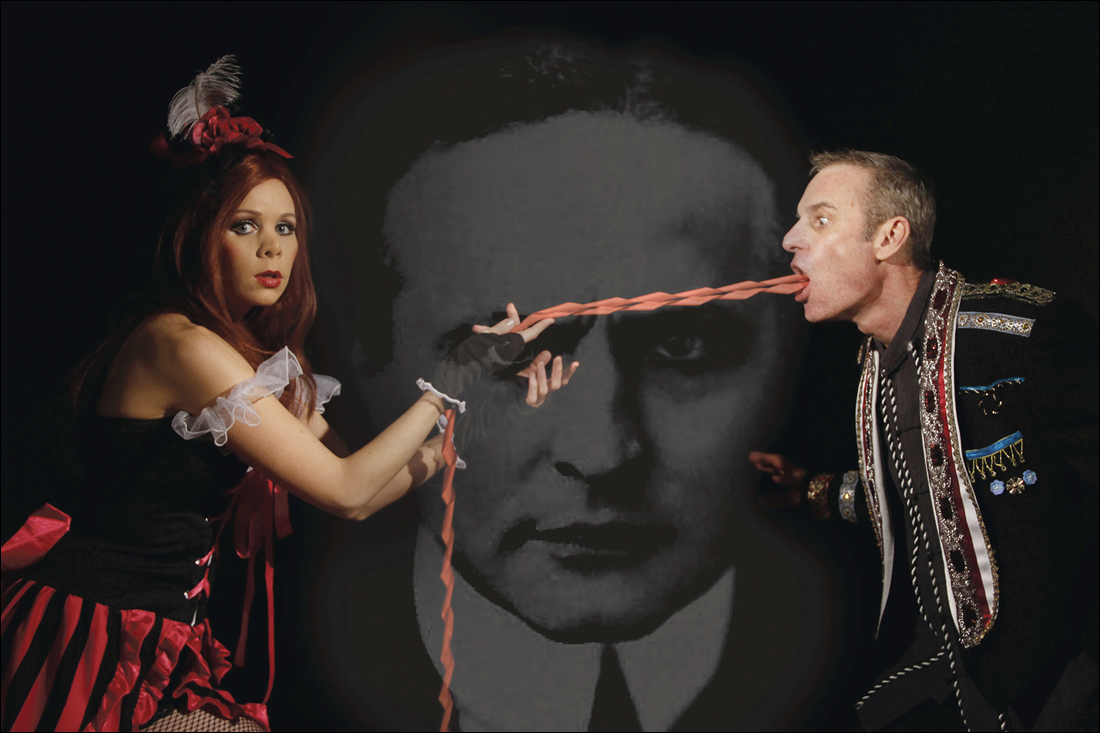 PLAYING THE PART: Yanna Fabian, Houdini and Albie Selznick in 'Smoke & Mirrors.' (Photo courtesy Jay Lee)