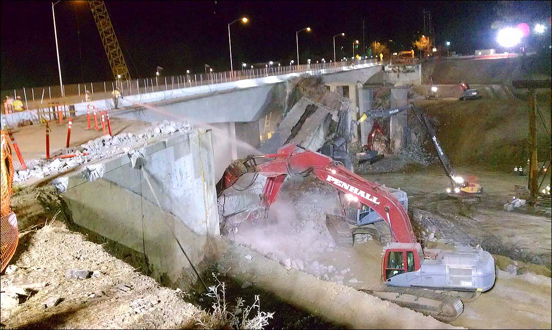 COMING DOWN: Construction crews demolished the final portion of the Mulholland Bridge on Interstate 405 over the weekend.  (Photo courtesy Metro)