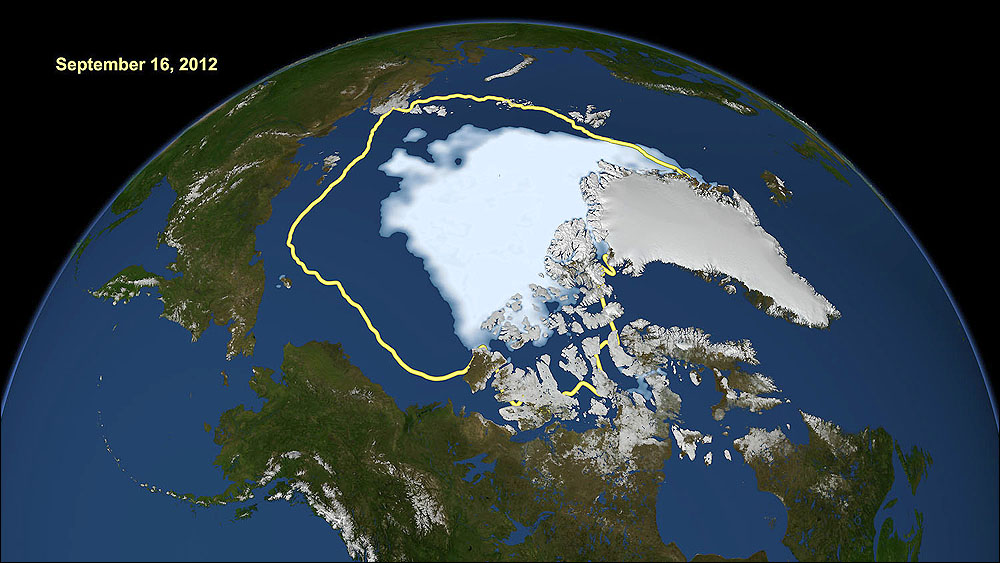 On Sept. 16, 2012 the National Snow and Ice Data Center reported that the extent of sea ice across the Arctic was at its lowest since satellite record-keeping began in 1979. Pictured: Satellite data reveal how the new record low compares to the average minimum extent over the past 30 years (in yellow). (Photo courtesy NASA/Goddard Scientific Visualization Studio)