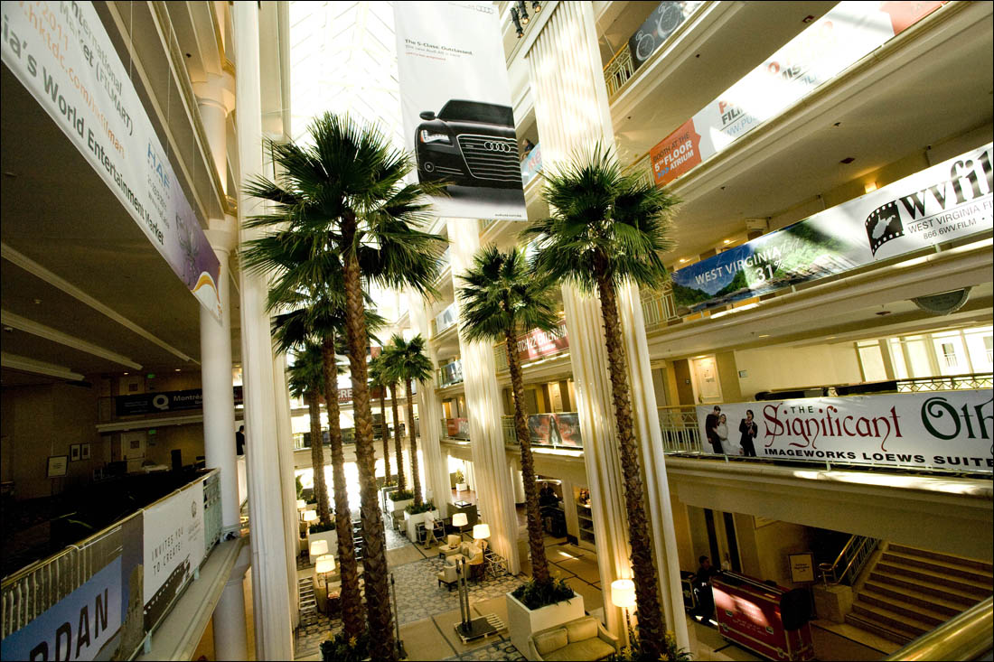 Movie posters line the lobby of Loews Hotel during a previous American Film Market. (File photo)