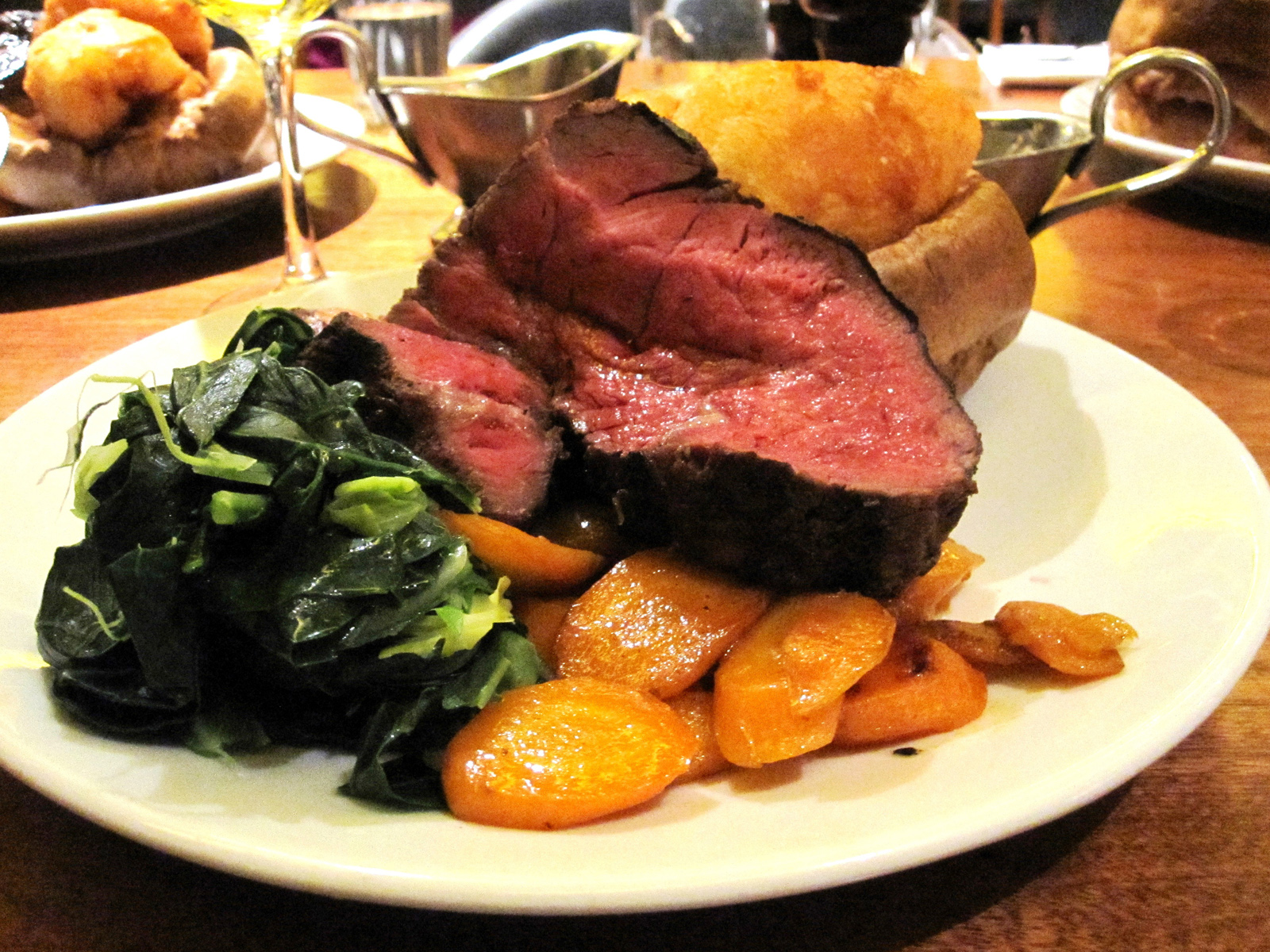 A steak dinner at Hawksmoor steak house, located in the mildly-restored basement of an old brewery in the Covent Garden district of London. (Photo courtesy Google Images)