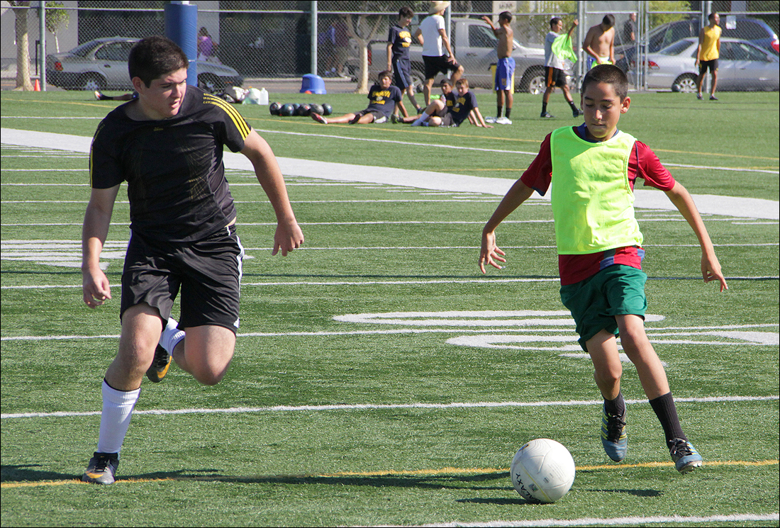 Boys try out for the Santa Monica High School soccer team at John Adams Middle School earlier this fall. (Photo by Daniel Archuleta)