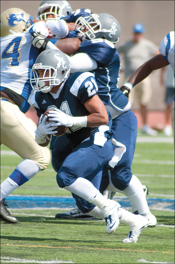 SMC running back Myles Johnson has been named to the All-Pacific Conference first team. (Photo by Morgan Genser)