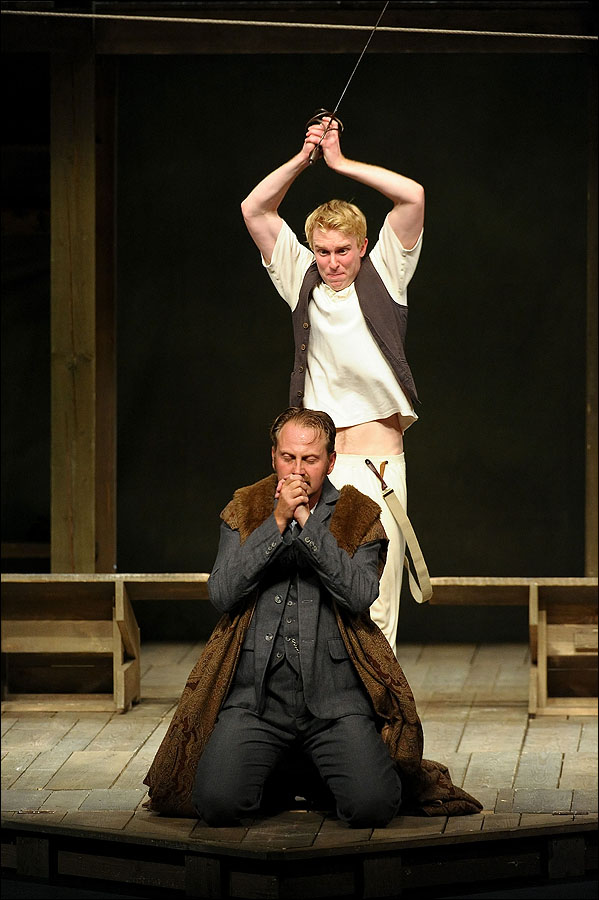 Dickon Tyrrell (L) and Michael Benz perform Shakespeare's Globe Theater in Hamlet at The Broad Stage.  (Photo by Noel Vasquez/WireImage)