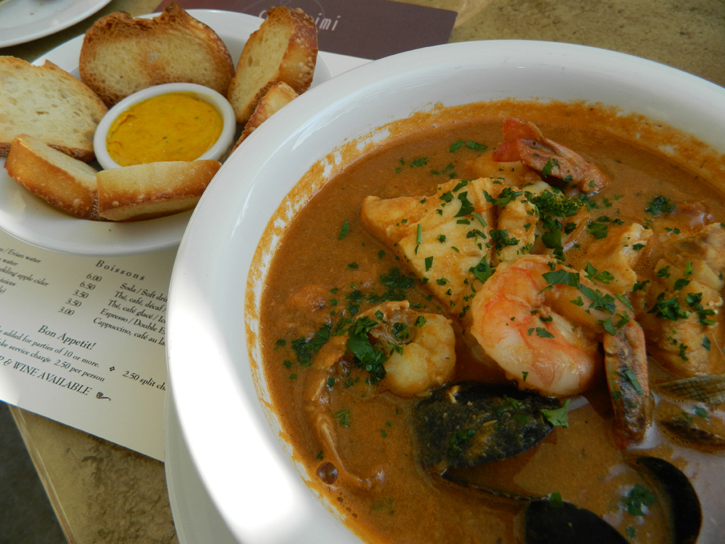 The 'Noah's Ark' bouillabaisse at Chez Mimi in the Pacific Palisades. It comes with two of everything. (Photo by John Blanchette.)