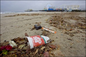 Trash piled up on Santa Monica Beach after a rain storm last year. (File photo)