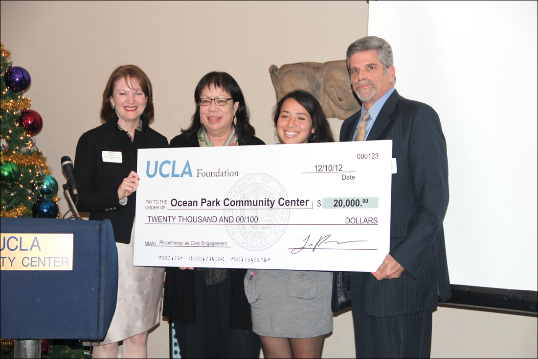 (From left) Diane Wilson and Chris Miller, from OPCC, UCLA student Jamecelle Ventura and John Maceri from OPCC.