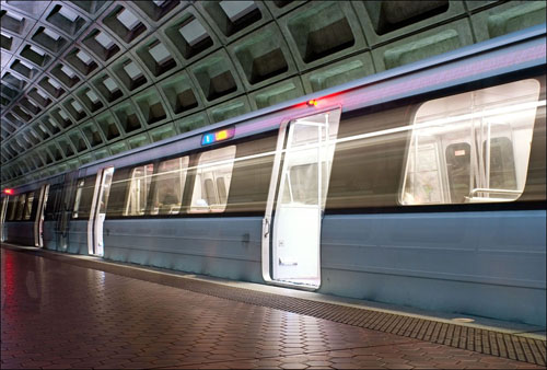 ON THE MOVE: A large public transportation network, in concert with other sustainability efforts, could reduce our carbon footprint by 24 percent, significantly reduce our oil consumption, save us money, reduce our travel time and its associated stress, and improve our overall health. Pictured: a Washington, DC Metro station. (Photo courtesy iStockPhoto)