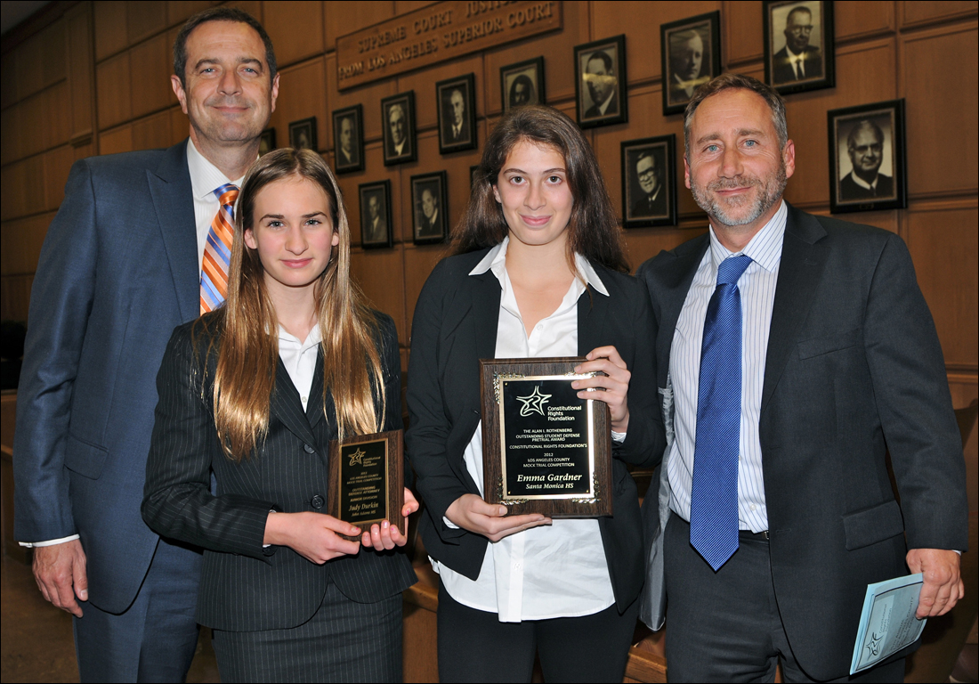 (Left to right) Santa Monica High School mock trial team coach Christopher A. Kanjo, Judy Durkin (seventh grader at John Adams Middle School; awarded 'Outstanding Defense Attorney' in 2012 Los Angeles County Mock Trial middle school competition); Emma Gardner (junior at Santa Monica High School; awarded 'Outstanding Defense Pretrial Attorney' in the high school competition); William Sadler (Los Angeles County public defender and coach for both the John Adams Middle School and Santa Monica High School). (Photo courtesy Erin Flannery)