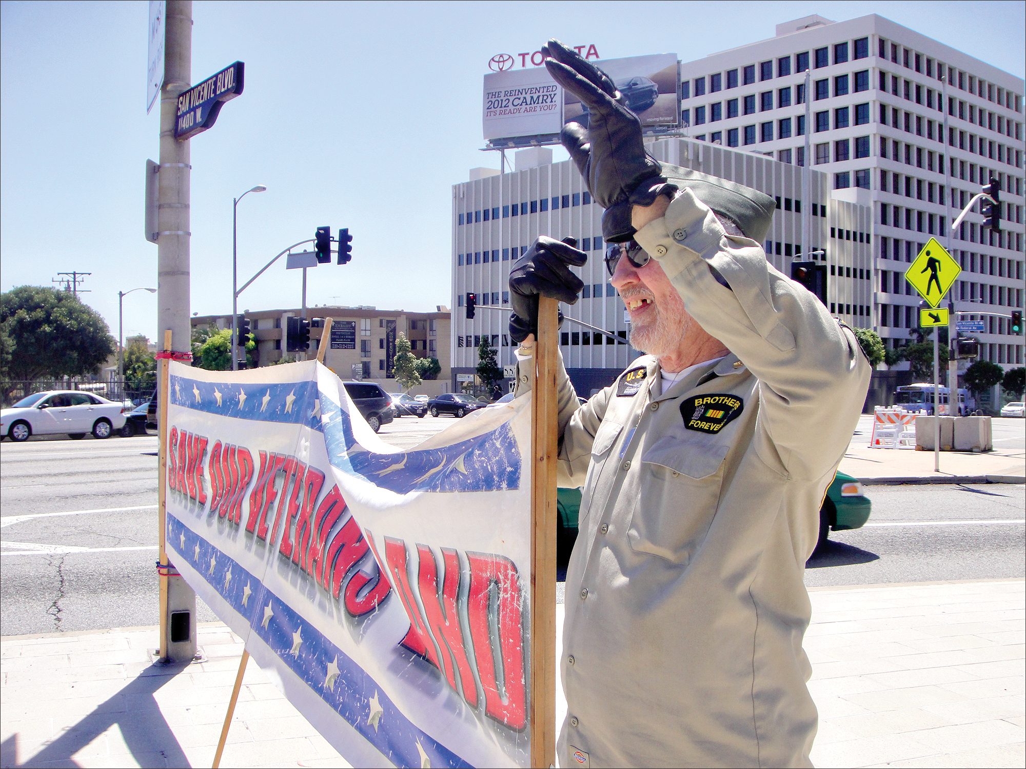 CALLING OUT: A veteran protests last year the VA's inability to build housing for homeless vets. (File photo)
