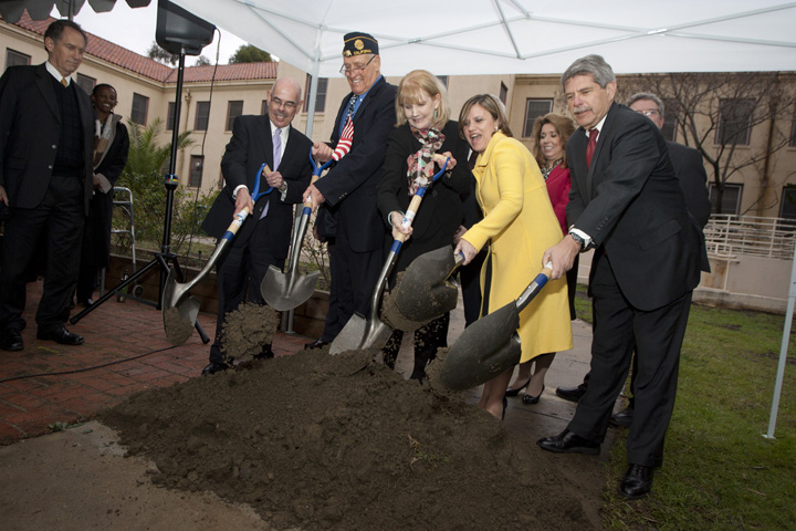 Rep. Henry Waxman (D-33rd District) (far left) joins local leaders on Friday in the ceremonial shoveling of dirt for the groundbreaking of a new home for homeless vets at the West L.A. VA campus. (Brandon Wise brandonw@smdp.com)