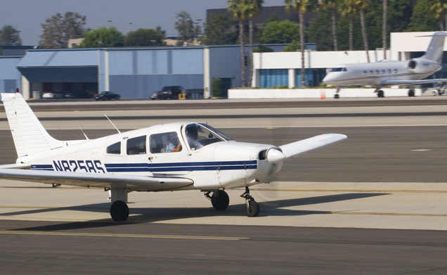 A Sesna lands on the Santa Monica Airport runway on Thursday afternoon.