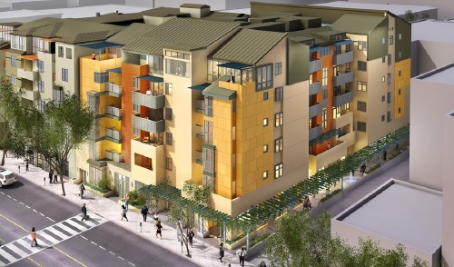 An artist's rendering of a mixed-use housing project on Fifth Street built by NMS Properties, one of Santa Monica's most active housing developers. (Rendering courtesy of NMS Properties)