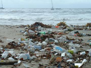 Urban runoff litters the beach following a rainstorm. (File photo)
