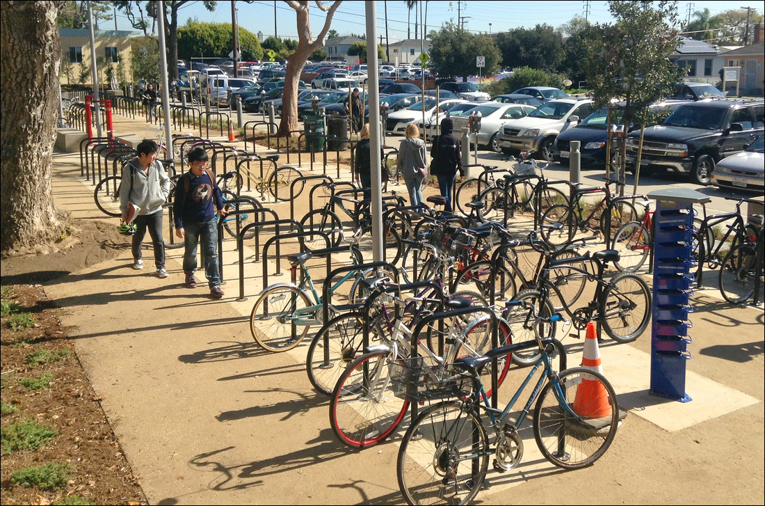 Santa Monica College opened a new 400-space bike parking lot on campus on Monday, the first day of the spring semester. (Photo courtesy SMC)