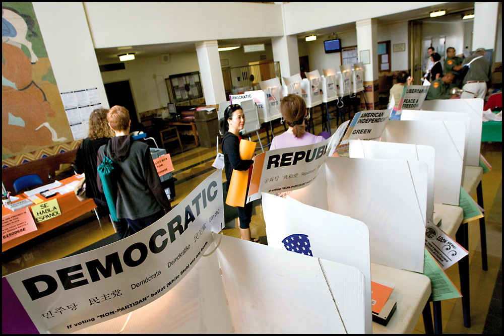 Voters cast their ballots at City Hall during a recent election. (File photo)