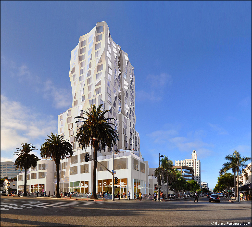 Frank Gehry designed this hotel proposed for the corner of Santa Monica Boulevard and Ocean Avenue. (File rendering)