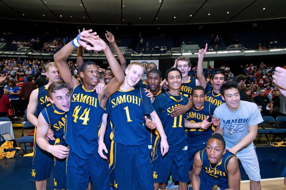 Samohi's boys' basketball team celebrates after winning the CIF-SS Division 1A title. (Photo by Morgan Genser)