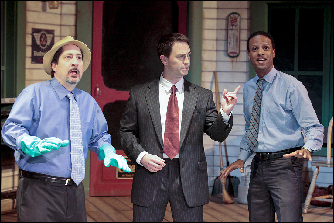 (L to R) Jason Rowland, Jonathan Root and Elijah Rock in 'Paradise' at the Ruskin.