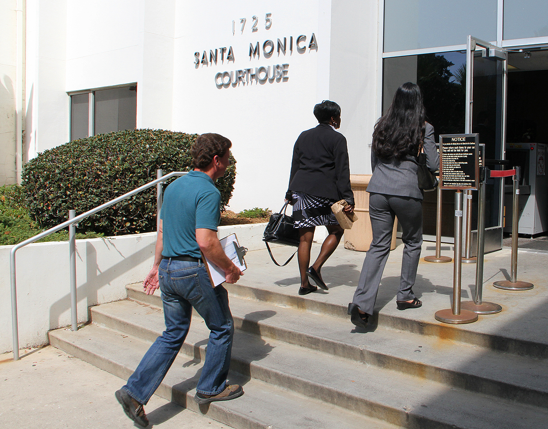 People enter the Santa Monica Courthouse on Monday. (Photo by Daniel Archuleta)