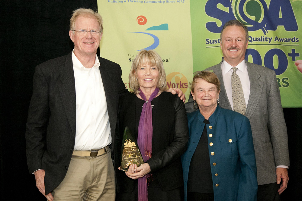 (L to R) Actor and environmental activist Ed Begley Jr., Santa Monica Chamber of Commerce President Laurel Rosen, former state Sen. Sheila Kuehl and Southern California Edison's Regional Public Affairs Director Mark Olsen attended this year's Sustainable Quality Awards on Wednesday at the Sheraton Delfina Hotel. (Photo by Brandon Wise)