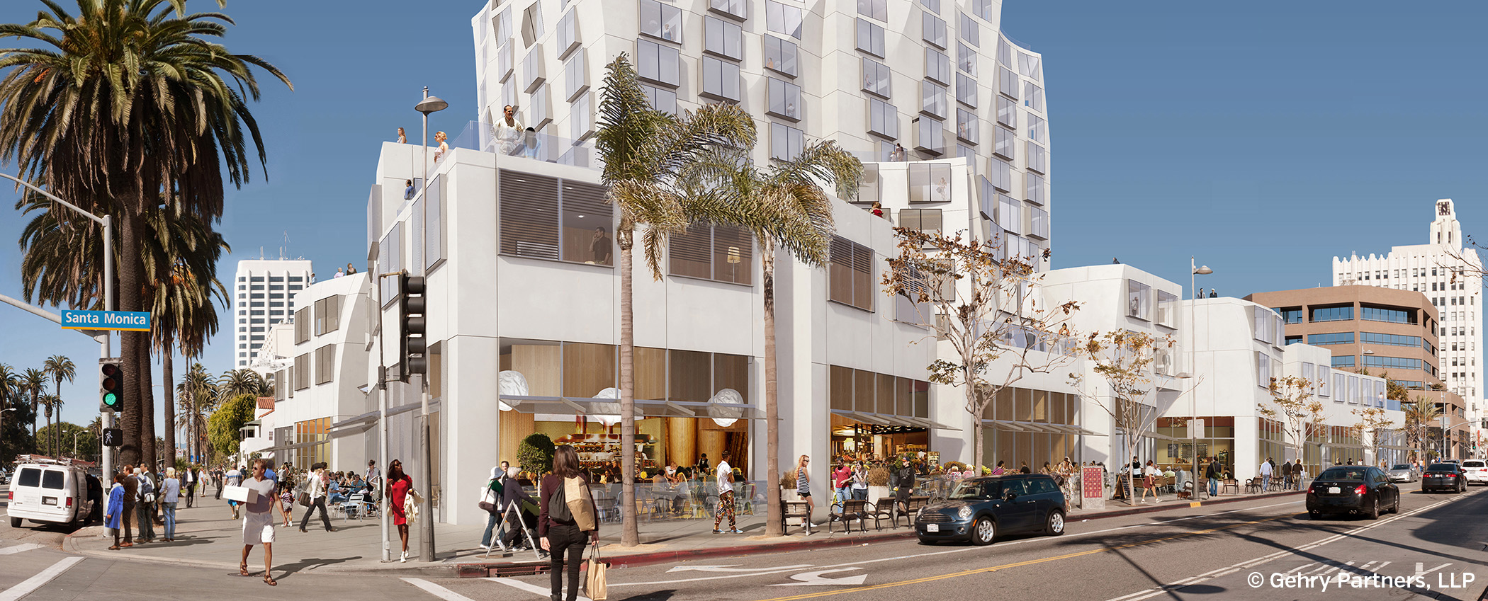 A rendering of the proposed hotel and condominium project designed by famed architect Frank Gehry for the corner of Ocean Avenue and Santa Monica Boulevard.  (Gehry Partners, LLC)