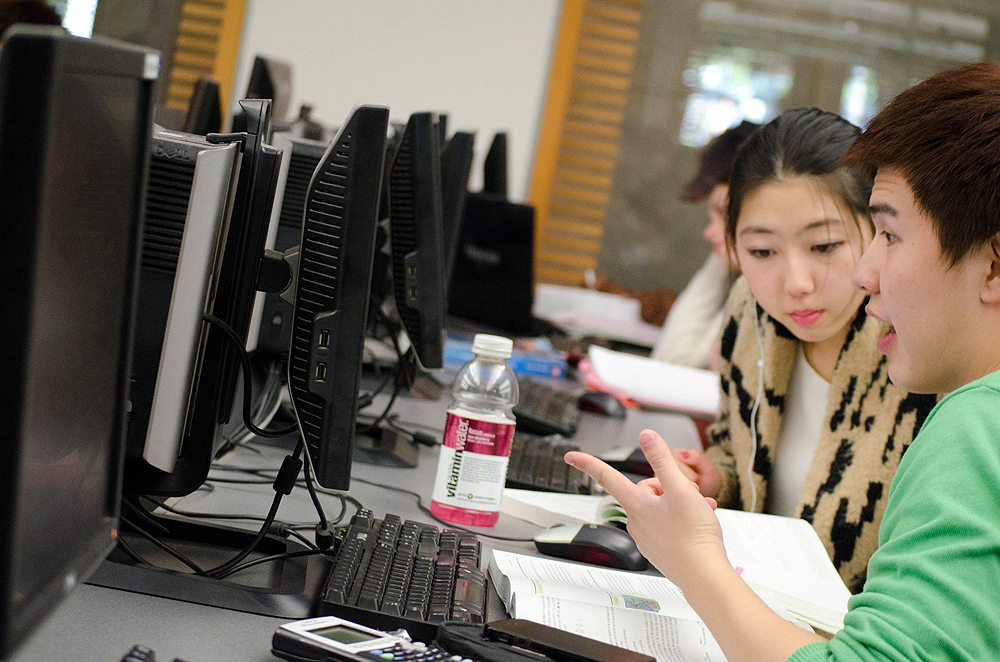 Students study on computers at Santa Monica College's library. (Photo by Paul Alvarez Jr.)
