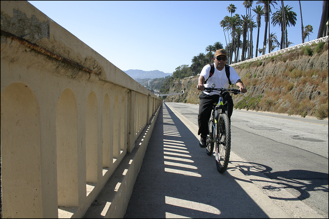 A man cycles up the California Incline. (File photo)