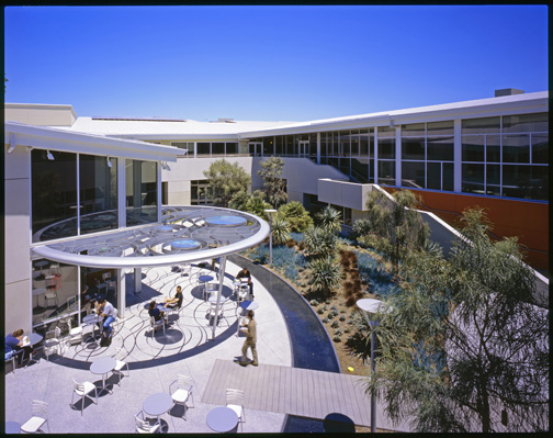 The courtyard at the Santa Monica Main Library ranked number five on a list of the 10 most peaceful public places. (Photo courtesy Moore Ruble Yudell Architects & Planners)