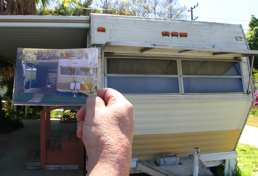 Village Trailer Park resident 'Bill' holds up a picture of his trailer from 1986. (Photo by Daniel Archuleta)
