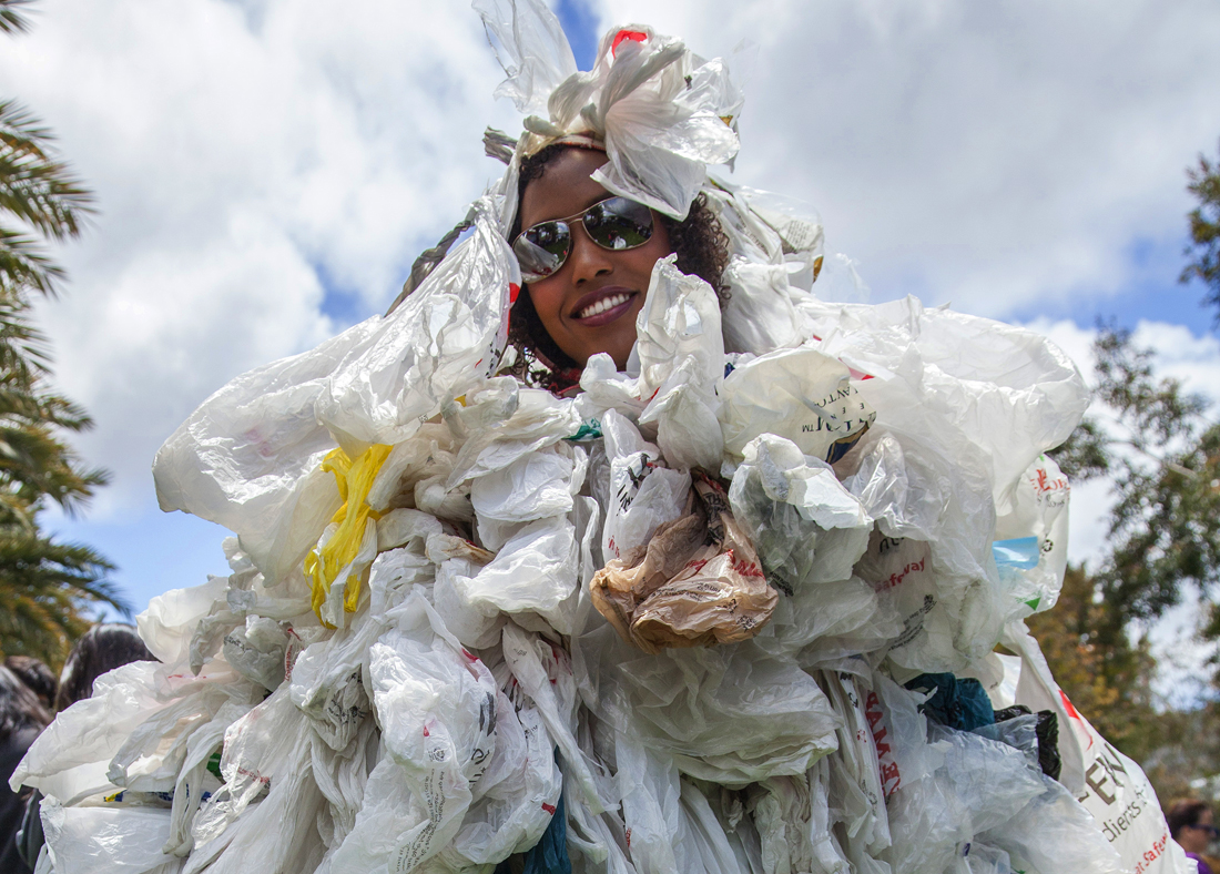 BAG MONSTER COMETH: SMC students fully embrace Earth Week activities. At last year's Earth Week celebration, SMC student Brandi Satterwhite demonstrated in a very personal way how many plastic bags an average American uses in a year. (Photo courtesy SMC)
