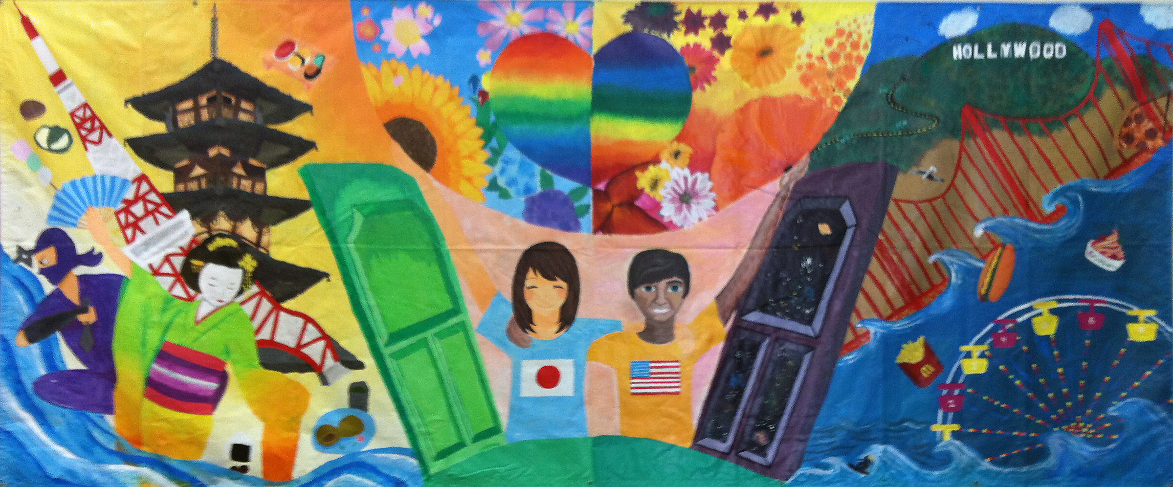 A mural painted by kids from JAMS and Japan that is being featured in an international art show to promote peace and understanding between cultures. (Photo courtesy  Jennifer Joyce)