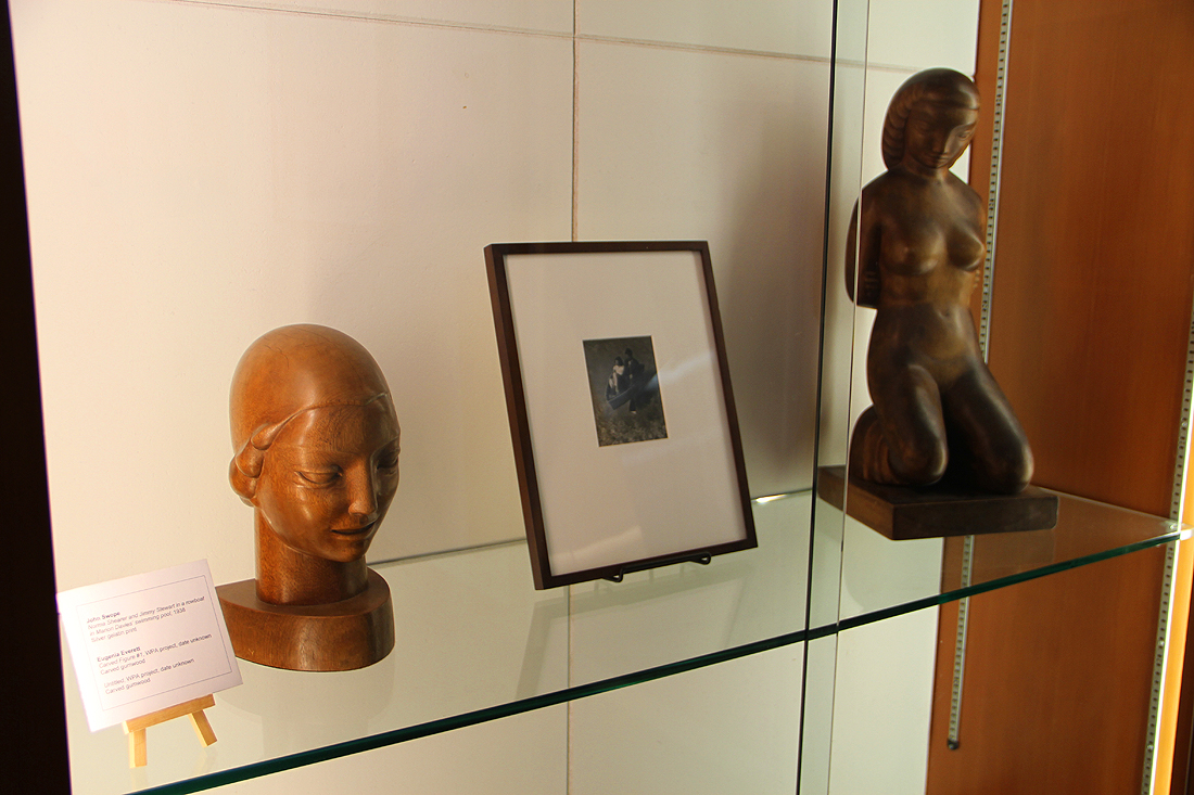 City Hall's Art Bank includes sculptures by Eugenia Everett (left and right) and even a picture of Norma Shearer and Jimmy Stewart in a row boat in Marion Davies' swimming pool, which is now part of the Annenberg Community Beach House. (Photo by Ashley Archibald)