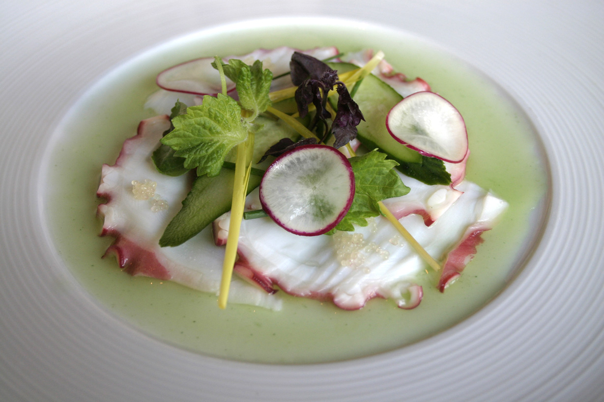 Octopus sashimi Kyoto style. The plate was presented like a picture, with green sauce framing the slices of octopus and radish. The taste  of the herb vinaigrette includes a mild citrus flavor perfectly complementing the mild flavor of the octopus. (Kevin Herrera kevinh@smdp.com)