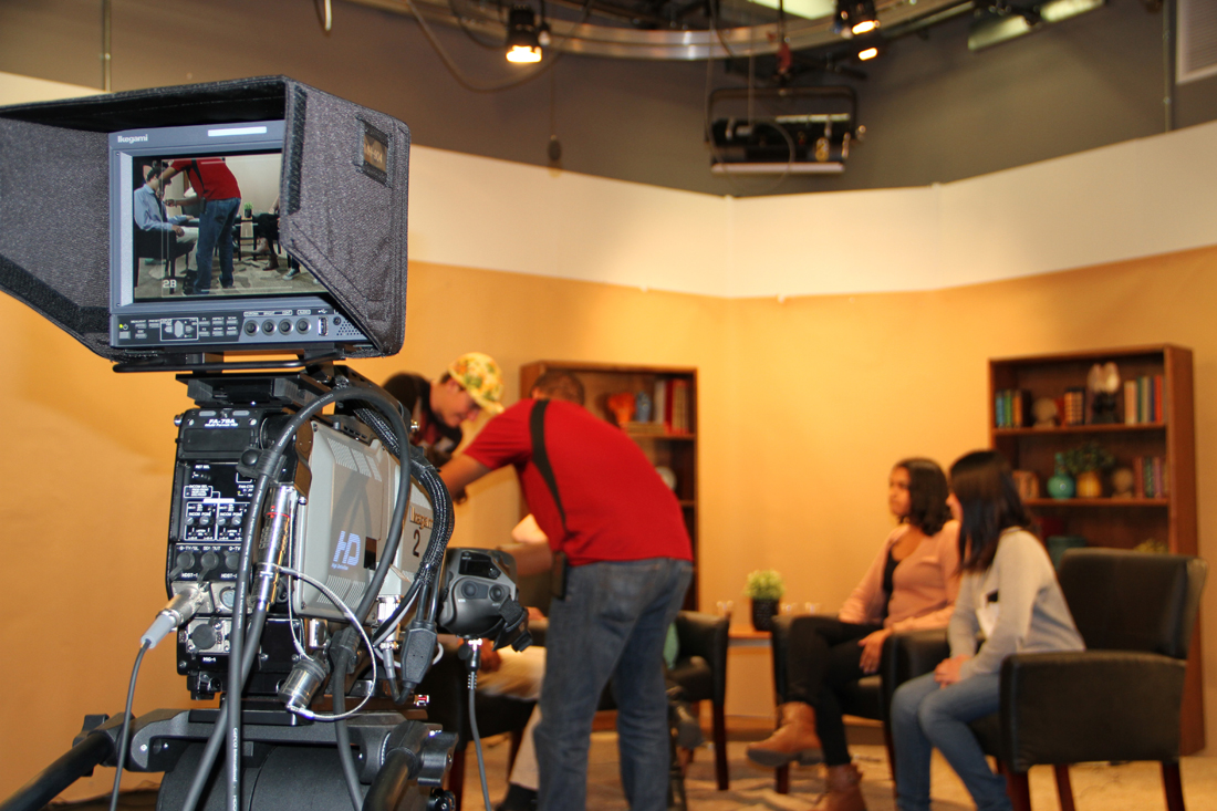 Santa Monica High School and Santa Monica College students get hands-on training writing, shooting and producing content at City Hall's Studio 16, a professional filming studio on 19th Street. (Photo by Ashley Archibald)