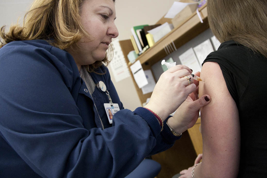 A nurse administers a flu shot at Santa Monica-UCLA Medical Center. (File photo)