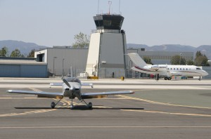 Planes taxi on the runway at Santa Monica Airport. (Photo by Daniel Archuleta)