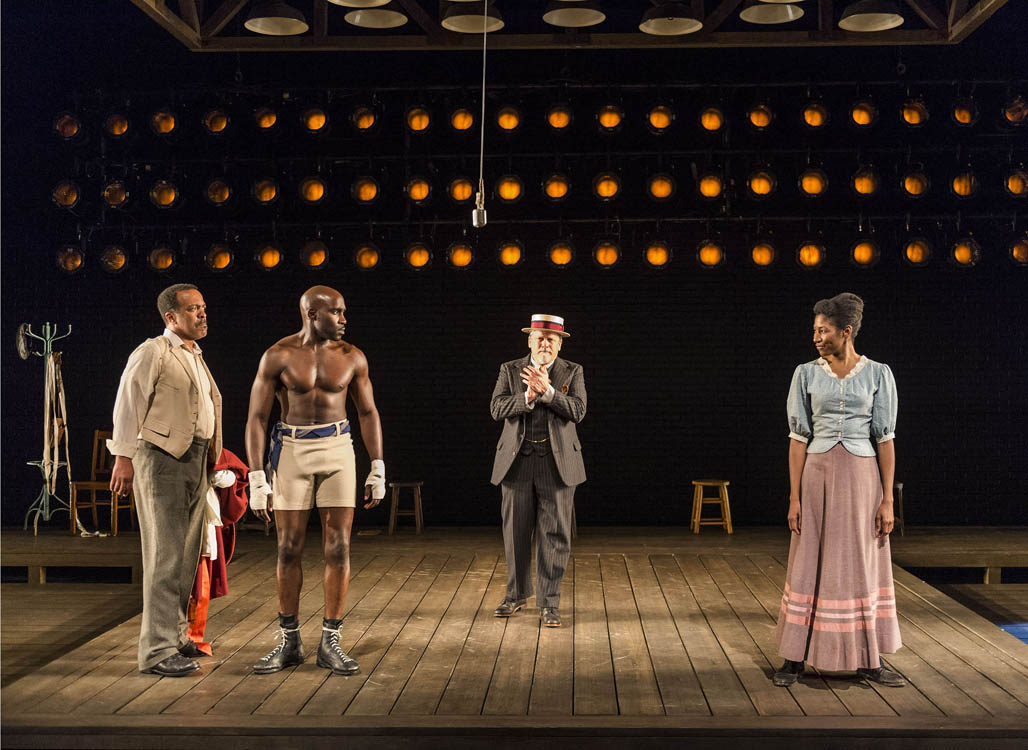 ON STAGE: (L to R) Robert Gossett, David St. Louis, Keith Szarabajka and Diarra Oni Kilpatrick in the world premiere of 'The Royale.' Marco Ramirez's powerful new play opened on May 5 at Center Theatre Group's Kirk Douglas Theatre and continues through June 2, 2013. (Photo courtesy Craig Schwartz )