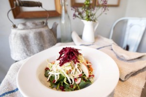 The Chop Chop salad, which includes kale, turnips, radish and pomegranate seeds, on display at The Courtyard Kitchen. (Michael Yanow editor@smdp.com)