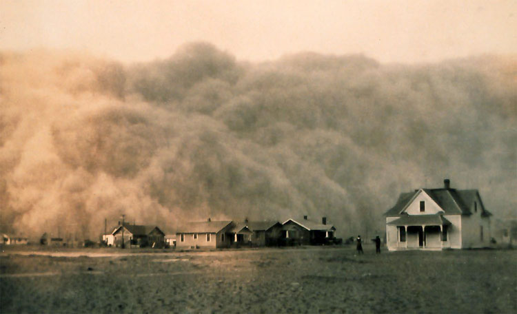 "PARCHED: The United States is embroiled in the worst drought since the ""Dust Bowl"" days of the 1930s. The current drought started in 2012, the hottest year on record in the U.S. Pictured: A dust storm approaches Stratford, Texas in 1935. (Photo courtesy NOAA George E. Marsh Album)"