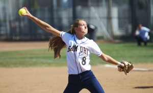 HERE IT COMES: Santa Monica High School starting pitcher Whitney Jones delivers a pitch against Paloma Valley during the third round of the CIF-Southern Section Division 4 playoffs on Thursday. The Samohi Vikings would go on to win, 8-1. (Photo by Paul Alvarez Jr.)