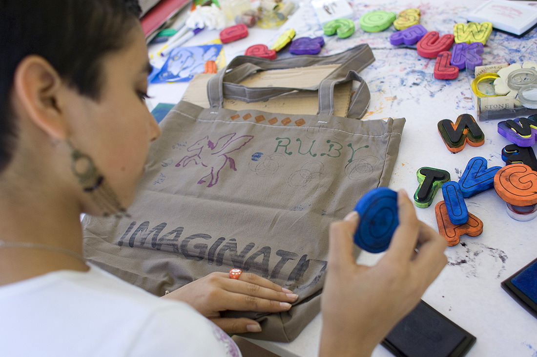 CRAFTY: Ruby Resenbiz creates a tote bag at the Santa Monica Festival in 2010. (File photo)