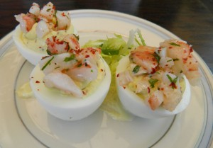 Willie Jane's deviled eggs with marinated shrimp and preserved lemon aioli.