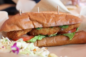 Seasalt's fried shrimp po'boy with coleslaw. (Michael Ryan michael@smdp.com)