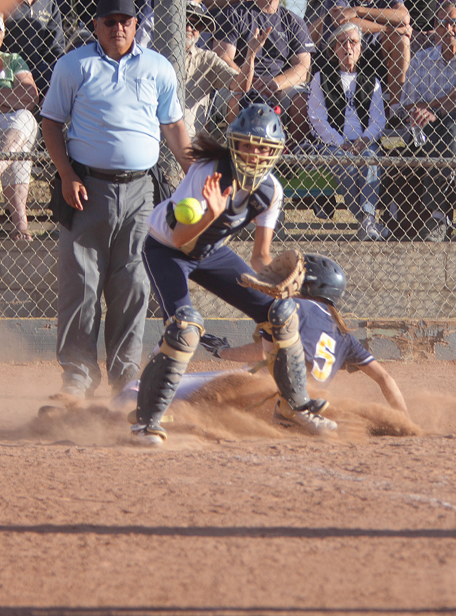 Samohi's Denise Reynoso scores the winning run against Dos Pueblos on Tuesday in Goleta, Calif. The run gave Samohi a 3-2 win in 11 innings to secure a spot in the CIF-SS Division 4 final on Saturday. (Photo courtesy Wendy Perl)